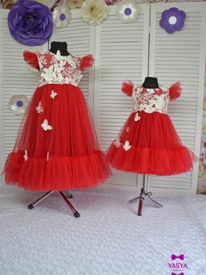 Сукня Меліс червона з метеликами