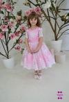 Сукня Олівія рожева з білим гіпюром