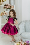 Сукня малинова в чорний горошок