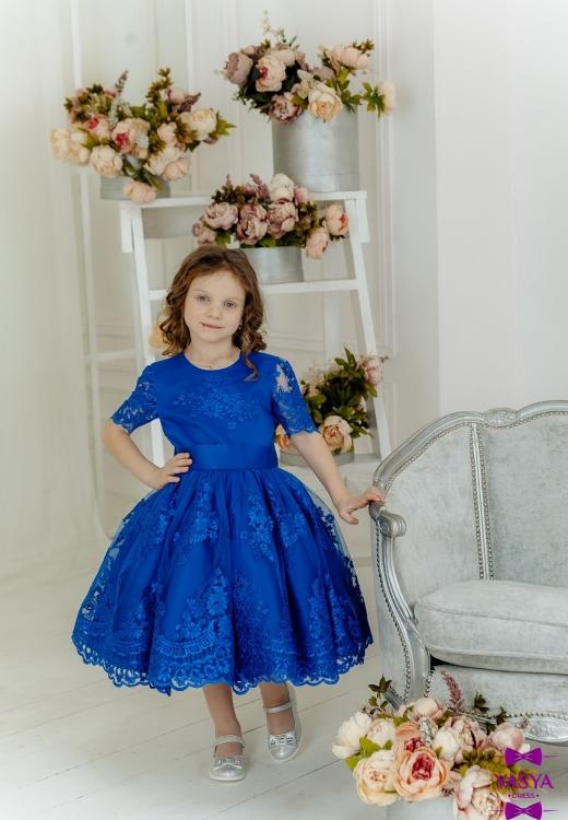 Синя гіпюрова сукня