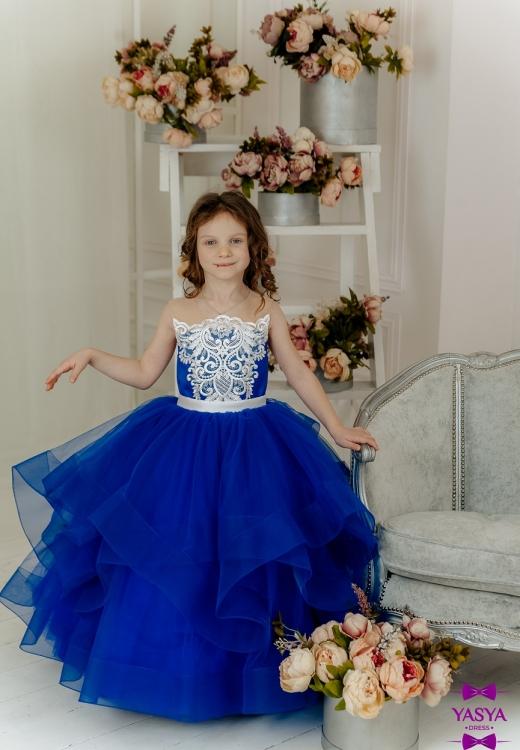 Сукня синя Аміра з білим мереживом