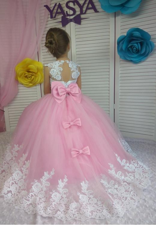 Сукня Аріні рожева зі шлейфом